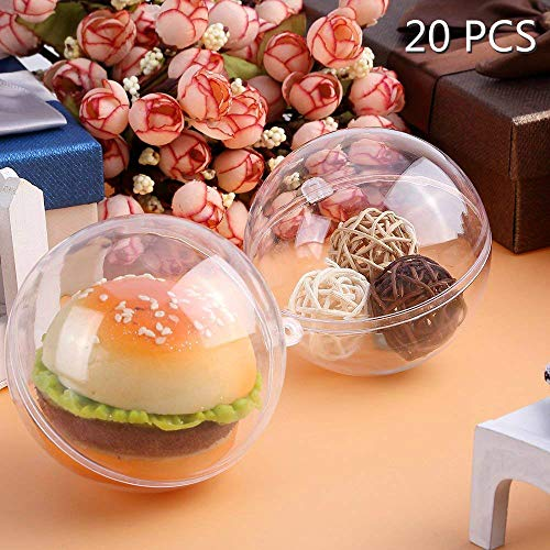 Kranich 20Pcs Fillable Ball Clear Plastic Christmas Ornaments Balls 100mm for Holiday Wedding Party Home Decor (Christmas Transparent Ornaments)