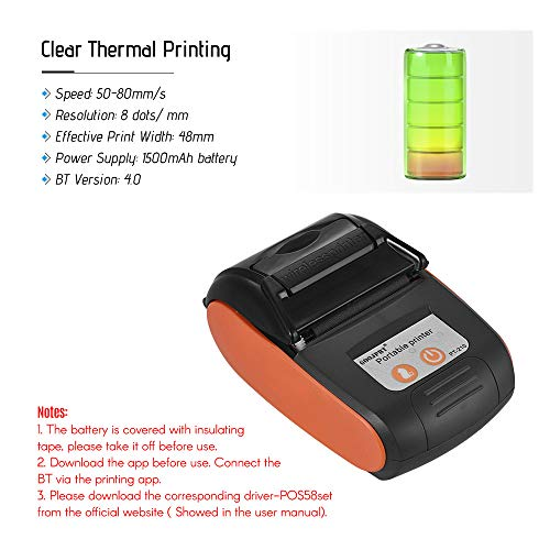 Aibecy GOOJPRT PT-210 Portable Thermal Printer Handheld 58mm Receipt Printer for Retail Stores Restaurants Factories Logistics, 10 Paper Rolls