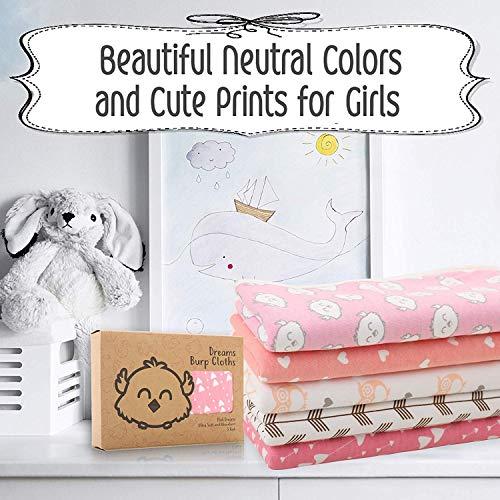 Organic Burp Cloths for Baby Boys and Girls - 5-Pack Ultra Absorbent Burping Cloth, Burp Clothes, Newborn Towel - Milk Spit Up Rags - Burpy Bib for Unisex, Boy, Girl - Burp Cloths Set (Pink Dreams)