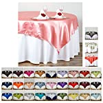 """Efavormart 72"""" Satin Square Table Overlay for Wedding Catering Party Table Decorations"""