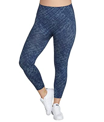 051aac44f26978 SPANX Plus Size Look at Me Now Medium Control Cropped Leggings, 1X, Indigo  Watercolor at Amazon Women's Clothing store: