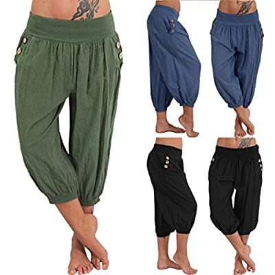 Pervobs Women Pants, Big Women Casual Elastic Waist Boho Pants Harem Check Baggy Wide Leg Sports Yoga Capris by Pervobs