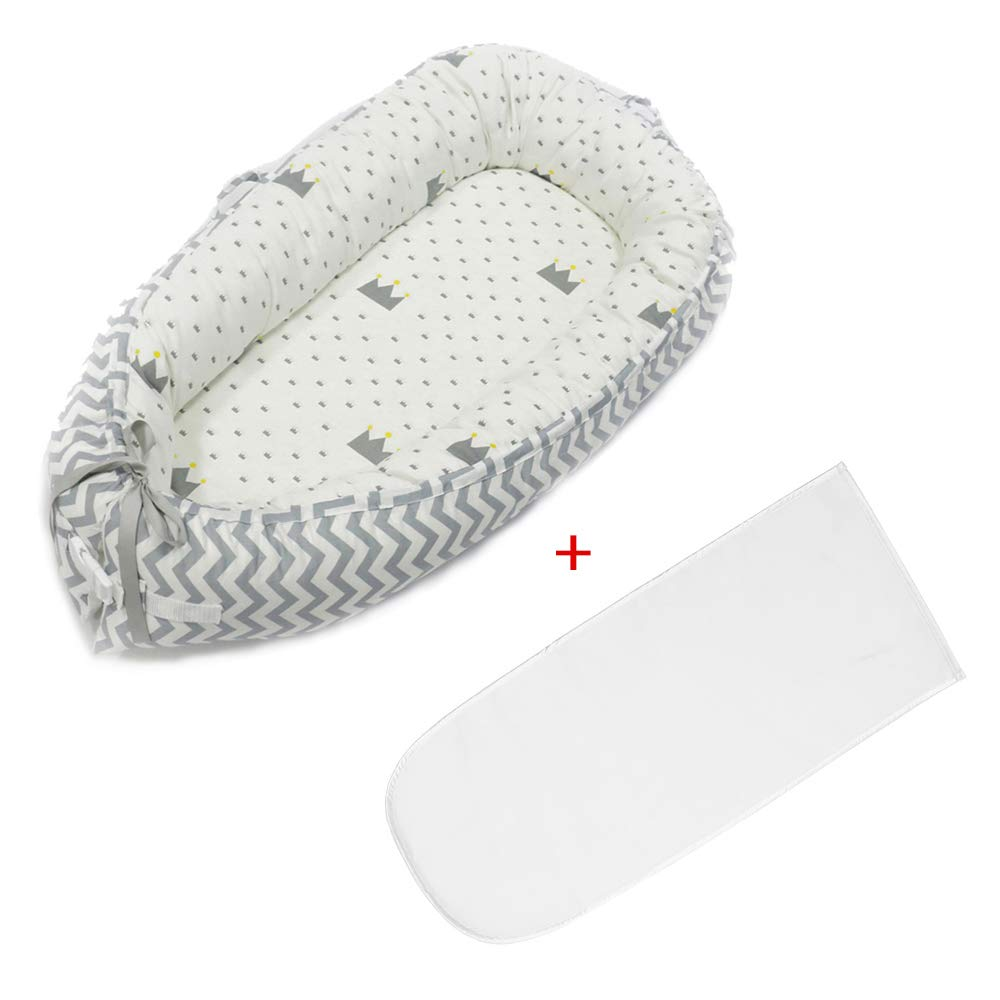 AOLVO Baby Bassinet Lounger Bed,Detachable /& Reversible Newborn Co-Sleeping Cribs /& Cradles Lounger Cushion,Portable Cocoon Snuggle Bed Baby Nest for 0-2 Years Old Bed + Mat