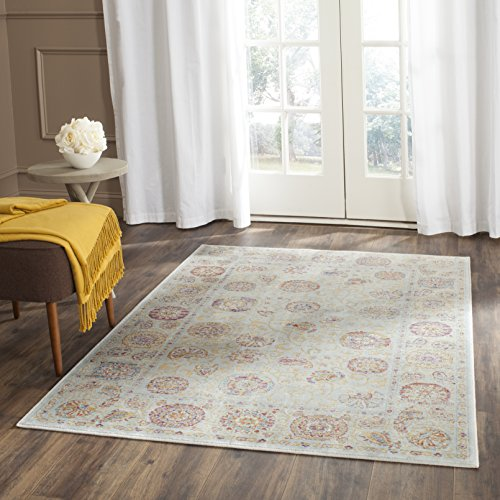 Safavieh Sevilla Collection SEV812D Silver and Multi Silky Viscose Distressed Area Rug (4' x 5'7