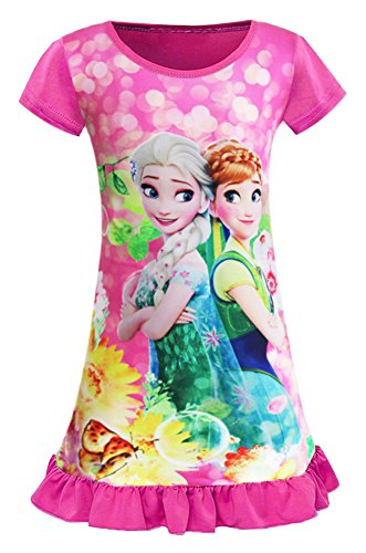 WNQY Little Girls Princess Anna Pajamas Toddler Nightgown Dress (130/5-6Y, Rose)
