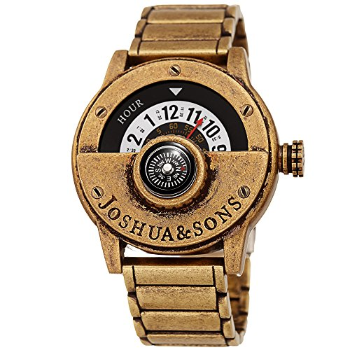 Joshua & Sons Heavy Duty Rugged Men's Watch - Explorer Style with Built in Compass - Unique Rotating Wheel Display On Rustic Link Bracelet - - Watch Antique Mens