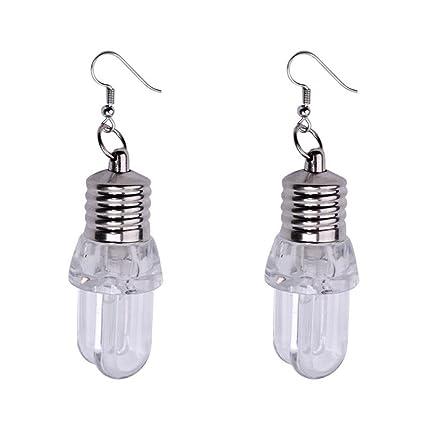 ab07a02fa559 Amazon.com: Swyss 1Pair Punk LED Blinking Bulb Ear Hook Earring For ...