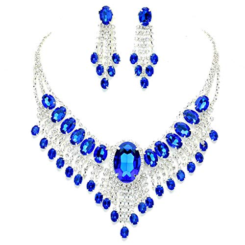 - Affordable Wedding Jewelry Royal Blue Clear Rhinestone Cascade Earrings Silver Necklace Set