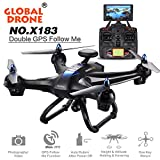 Kanzd New Global Drone X183 5.8GHz WiFi FPV 1080P Camera Dual-GPS Brushless Quadcopter (Black)