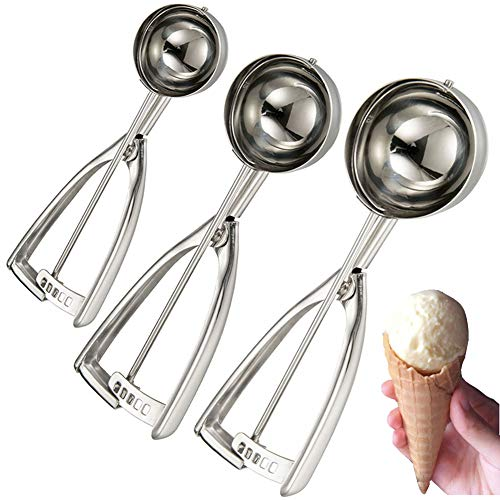(Cookie Scoop, 3 Pcs Ice Cream Scoop with Trigger, Scoop Ice Cream Large Medium Small Ice Cream Scoopers, 18/8 Stainless Steel Melon Ballers Meat Ballers Potato Mashers & Make Muffin, Cupcakes)