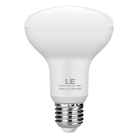 LE Bombilla LED E27 10W=60W Incandescente, Blanco cálido 2700K, Bombilla reflectora R80