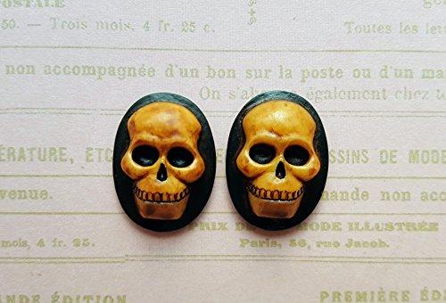 25x18mm Antiqued Brown Skull Cameos (2) - ANTL560