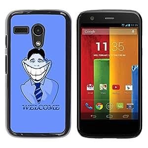 TopCaseStore / la caja del caucho duro de la cubierta de protección de la piel - Big White Smile Welcome Sign Hypocrisy Art - Motorola Moto G 1 1ST Gen I X1032