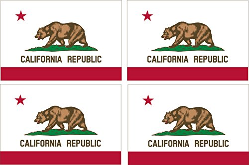 Pack of 4 California CA Republic State Flag Auto Decal Bumper Sticker Car Truck Boat RV - Flag California Sticker