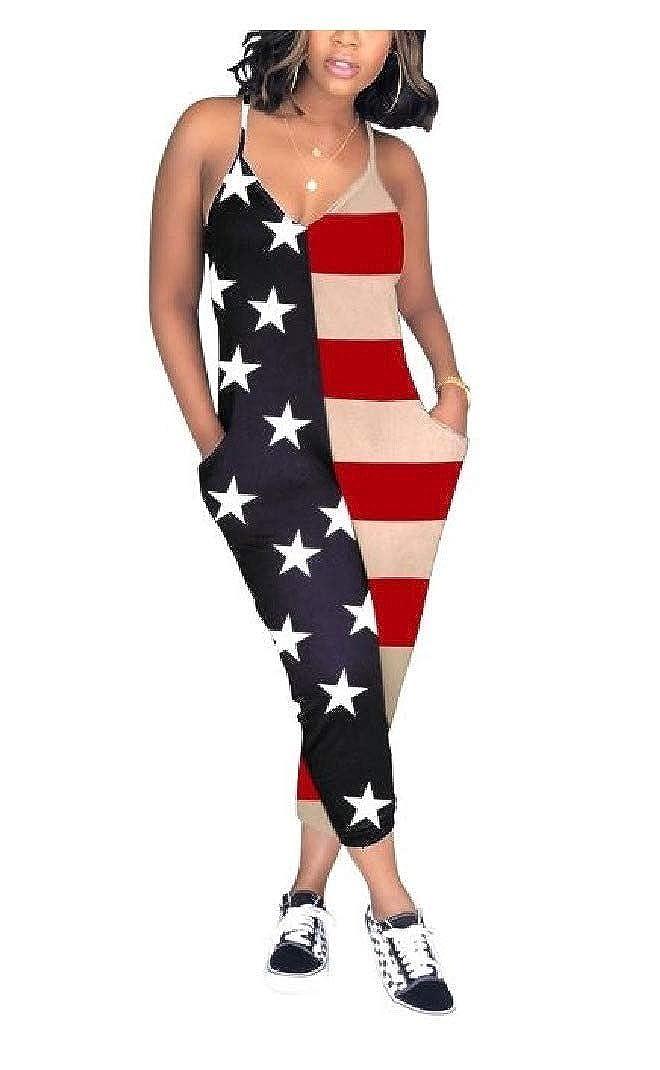 VITryst-Women V Neck Flag Printed Pocketed Patterned Jumpsuits