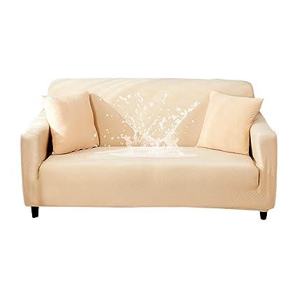 HOTNIU Funda Elástica de Sofá Funda Impermeable para sofá Antideslizante Protector Cubierta de Moda (4 Plazas, Beige)