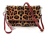 Elphis Leopard Glossy Vegan Bifold Clutch Crossbody Bag Shinny PU Purse (Leopard/Red)