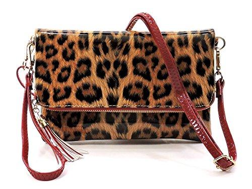 Elphis Leopard Glossy Vegan Bifold Clutch Crossbody Bag Shinny PU Purse (Leopard/Red) (Leopard Clutches)