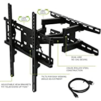 TV Wall Mount Bracket with Full Motion Swivel Articulating Dual Arms for most 20-60 Inch LED, LCD, OLED and Plasma Flat Screen TV, up to VESA 400x400mm and 115 LBS with Tilting, HDMI Cable