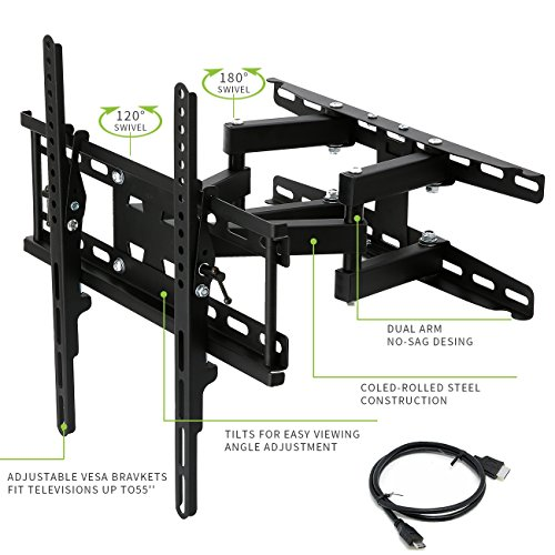 TV Arm Mount TV Wall Mount Bracket with Full Motion Swivel Articulating Dual Arms for Most 20-55 Inch LED, LCD, OLED and Plasma Flat Screen TV, up to VESA 400x400mm and 115 LBS HDMI Cable