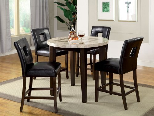 5 pc Lisbon III contemporary style dark walnut finish round marble top counter height dining table set