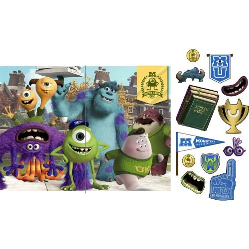 Hallmark - Disney Monsters U Backdrop and Props Kit - Multi-colored - Monsters Inc Party Supplies