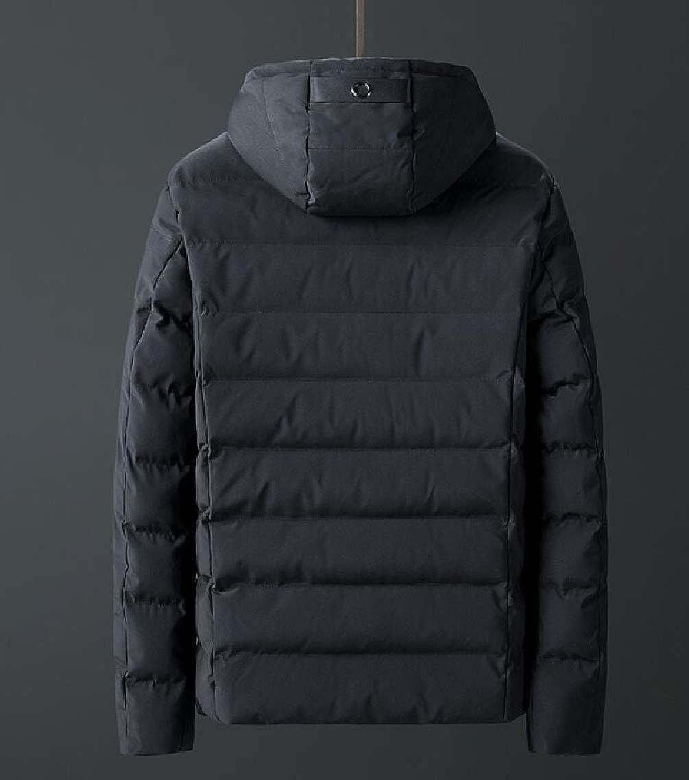 Jmwss QD Mens Parka Coat Zipper Long Sleeve Hoodie Solid Down Jacket Coat