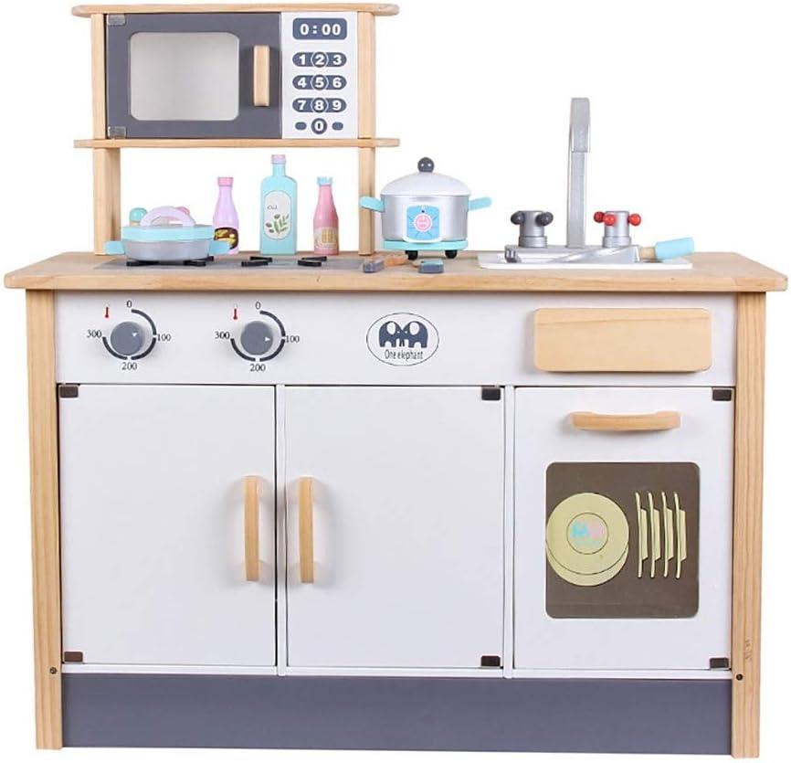 キッズプレイセット 子供キッズキッチン食品料理リトルシェフ木製ごっこロールプレイセットでオーブン、食器棚79.5x5.5x79CM キッチンアクセサリープレイセットに最適 (Color : Yellow, Size : 79.5x5.5x79CM)
