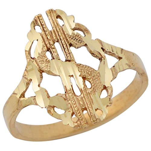 14k Yellow Gold Hip Hop Diamond Cut Money Dollar Sign with Fancy Border Ring by Jewelry Liquidation