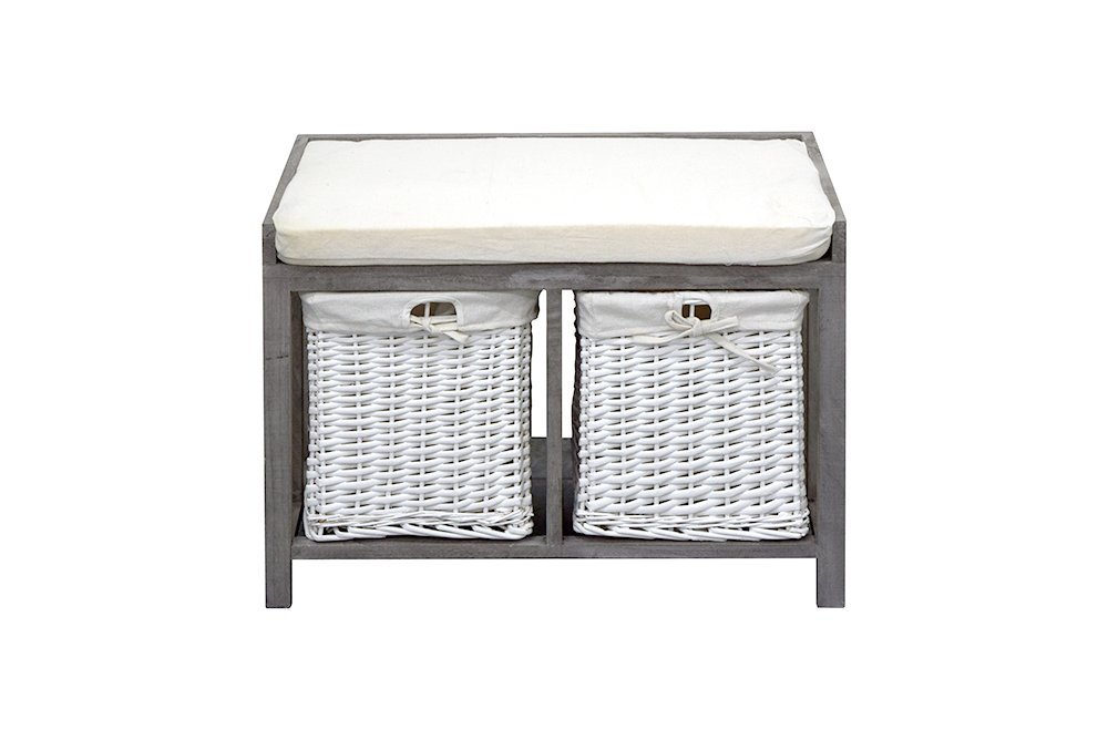 Rebecca Srl Bench Storage Unit 2 Drawers Seat Padded Grey White Wood Wicker Country Retro Hall Bedroom (Cod. RE4387)