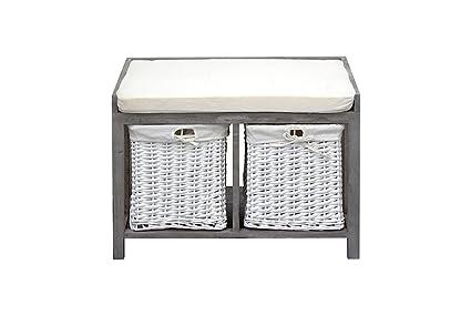 Panca Imbottita Contenitore : Rebecca mobili panca contenitore seduta imbottita cassetti legno