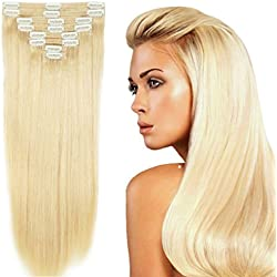 "US Stock 130g 16"" Platinum Blonde Straight Real Natural Thick Double Weft Full Head Set Clip in 100% Remy Human Hair Extensions Top Grade 7A For Woman Beauty 8Piece 18Clips"