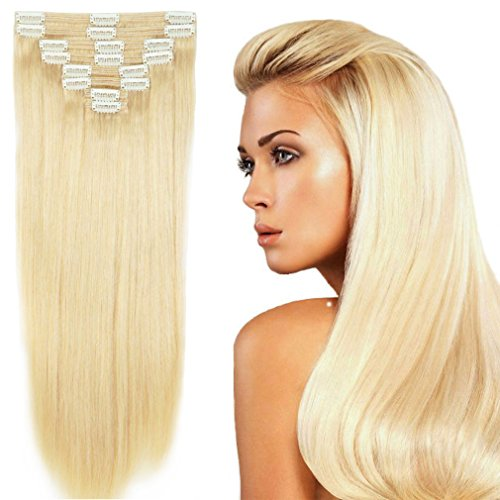 """US Stock 130g 16"""" Platinum Blonde Straight Real Natural Thic"""