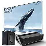 Hisense 100L10E Ultra Short Throw 4K UHD Smart HDR Home Theater Projector Laser TV with 100'' Ambient Light Rejection Screen, Harman Kardon Sound DBX-tv, Wireless subwoofer, Alexa Voice Remote