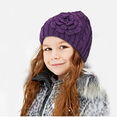 Hatsandscarf CC Exclusives Womens Knitted Cute Beanie with Flower Accent (HAT-31)