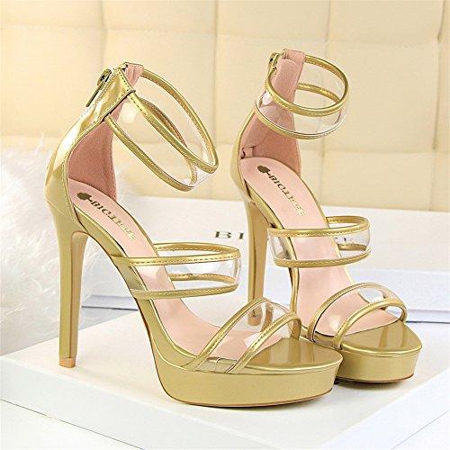 z&dw Moda pedicura super alta con tabla impermeable hueco palabra transparente con sandalias Oro