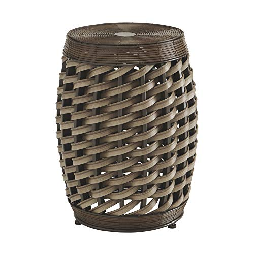 Ashley Furniture Signature Design - Elgielyn Indoor/Outdoor Accent Table - Contemporary - Faux Rattan in Brown - Barrel Design