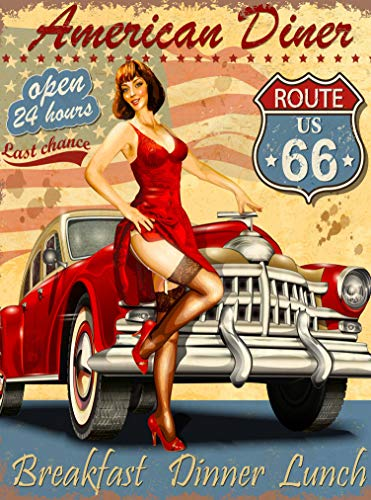 (A SLICE IN TIME American Diner Route 66 Car Pin Up Pin-Up Girl Retro United States Travel Art Deco Poster Print. 10 x 13.5)