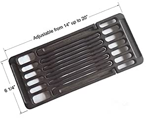 BBQ funland AGI625 Adjustable Porcelain coated Cast Iron Cooking Grid Cooking grates Replacement for Brinkmann and Charmglow Grills, 6 1/4-inch Width, Adjustable Length from 14-inch to 20-inch