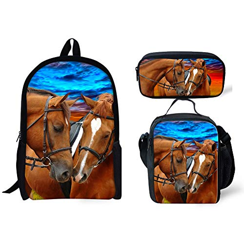 Horse Kindergarten Preschool Durable Bookbag for Girl Boy Stylish Lunch Bags for Women Grade Primary School Student Office Work Men with 3D Printed Pencil Bag for a pen 3 Piece Sets 17 Inch