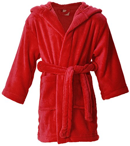 Children's Hooded Plush Velvet Bath Robe with Pockets,Red,L(7-10 (Child Red Hooded Robe)