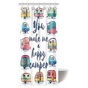 """Camper Duschvorhang-Set, Motiv """"You Make Me Happy Camper"""", motivierendes Zitat mit Wohnwagen, Retro-Stil, für Reisen…"""