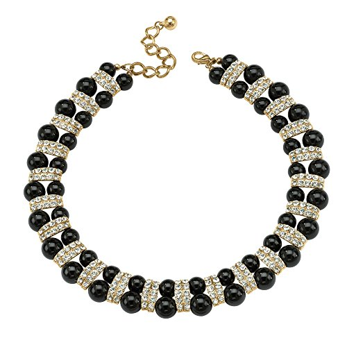 Palm Beach Jewelry Gold Tone Black Lucite Beaded Collar Necklace (22mm), Round Crystals, 18