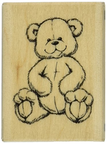 - Rubber Stamp With Wood Handle, Teddy Bear