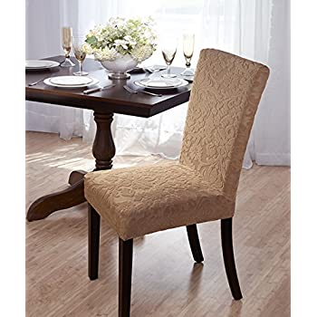 Luxurious Velvet Damask Dining Chair Cover, Beige, Burgundy, Brown, Green  (Beige