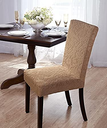 Luxurious Velvet Damask Dining Chair Cover Beige Burgundy Brown Green