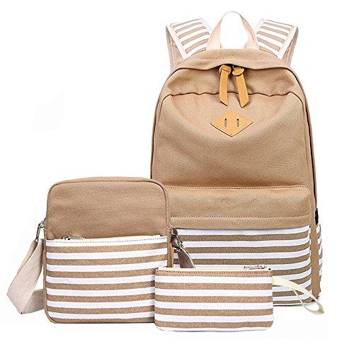 Dog Cool Stripe (Canvas School Backpack Set for Teens Girls 3 Pieces Laptop Bag Travel Shoulder Daypack Pencil Pouch Stripe Khaki)