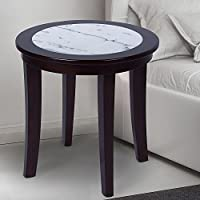 SLEEPLACE SVC22TB06D 22 NATURAL Marble Solid Wood End Table/ Round Side/ Accent Table, Dark Brown & White