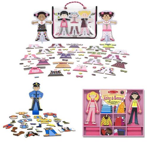 Melissa & Doug Abby & Emma Deluxe Magnetic Dress-Up Plus Tops and Tights and Joey Magnetic Dress-Up - Doll Dress Dora Up