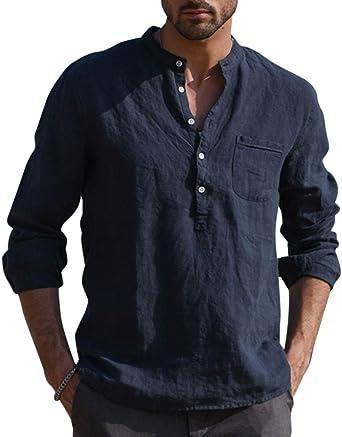 Jacansi – Camiseta de manga larga para hombre de algodón, cuello en V, otoño